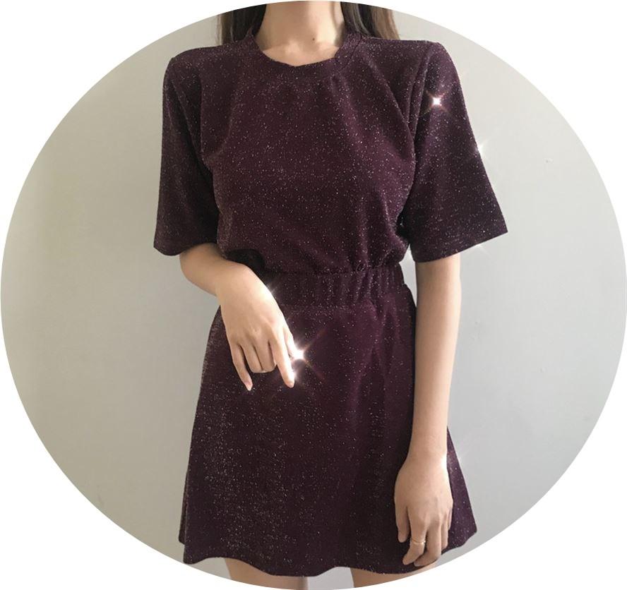 尚韩件身裙装短修女装点袖夏休A衣+字亮套装套两恤版闲时T上短裙