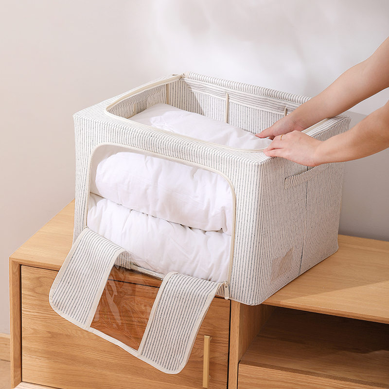 【茶花】双开单窗可视衣服杂物收纳盒2个装