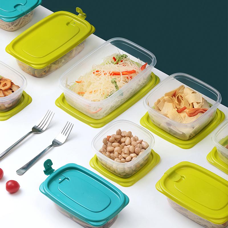 茶花塑料冰箱保鲜盒家用冷冻水果蔬菜专用收纳盒微波炉饭盒食品级
