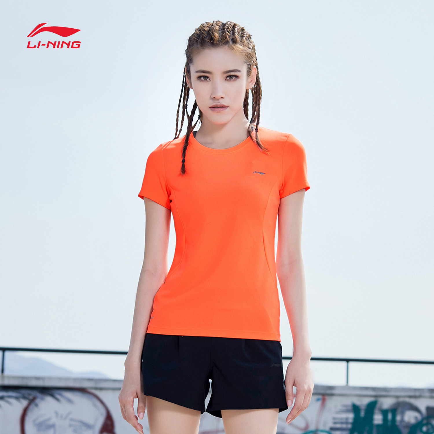 Li Ning short-sleeved T-shirt lady comprehensive training clothes summer new elastic fitness running fast dry breathable sportswear.