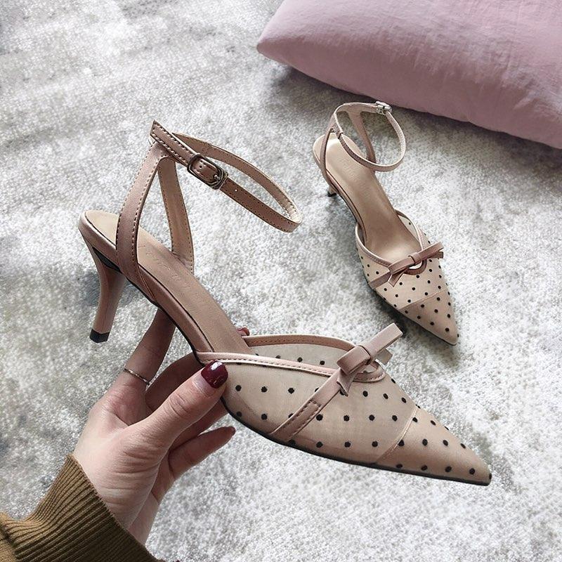 小尤家~網紅涼鞋女新款夏季百搭仙女一字扣帶波點網紗尖頭細跟高跟鞋