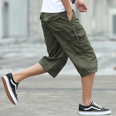 Mùa hè quần short nam lỏng bông giản dị cắt quần cộng với chất béo kích thước lớn dụng cụ quần short đa túi thủy triều nam 7 điểm quần 3/4 Jeans