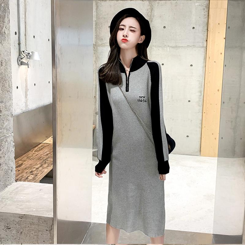 2019早秋新款拼色长袖连衣裙女中长款学生卫衣裙潮设计感宽松长裙