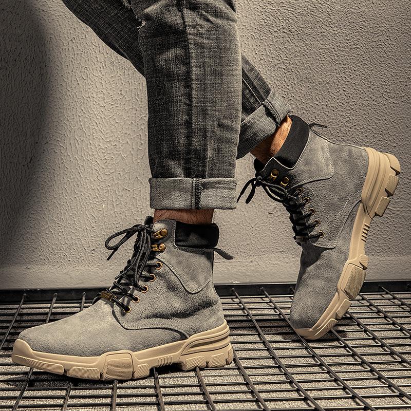 手工头层疯马牛皮日本男女情侣工装靴皮鞋圆头85真皮马丁靴