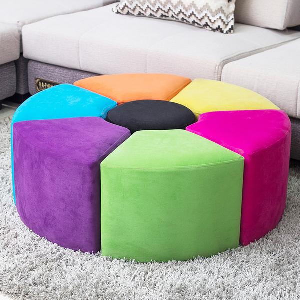 Креативный тканевый стул для дома популярный Комбинированный табурет, гостиная, небольшая древесина панель Табурет скамейка