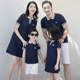 Parent-child wear summer wear, family wear, a family of three and four wear mother and daughter short-sleeved kindergarten polo shirt dress