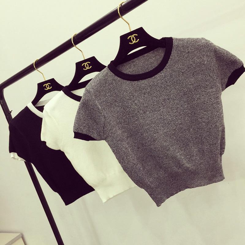 2016夏季新款韩版露脐短款纯色短袖T恤修身紧身针织衫打底女上衣