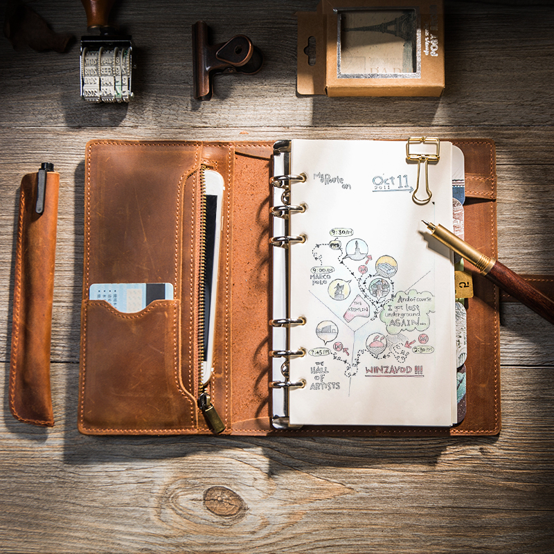 4eb8a46302eb ... Leather buckle upgrade leather hand book travel notebook zipper retro  notepad binder diary A5A6 ...