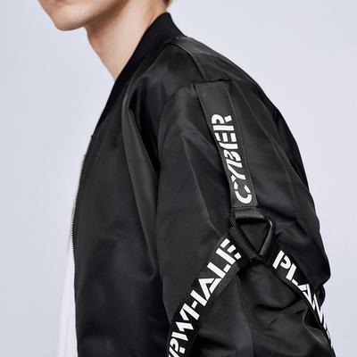 Mark Huafei nam mùa thu áo khoác bay áo khoác letter in ấn ribbon bóng chày cổ áo xu hướng thời trang áo sơ mi giản dị