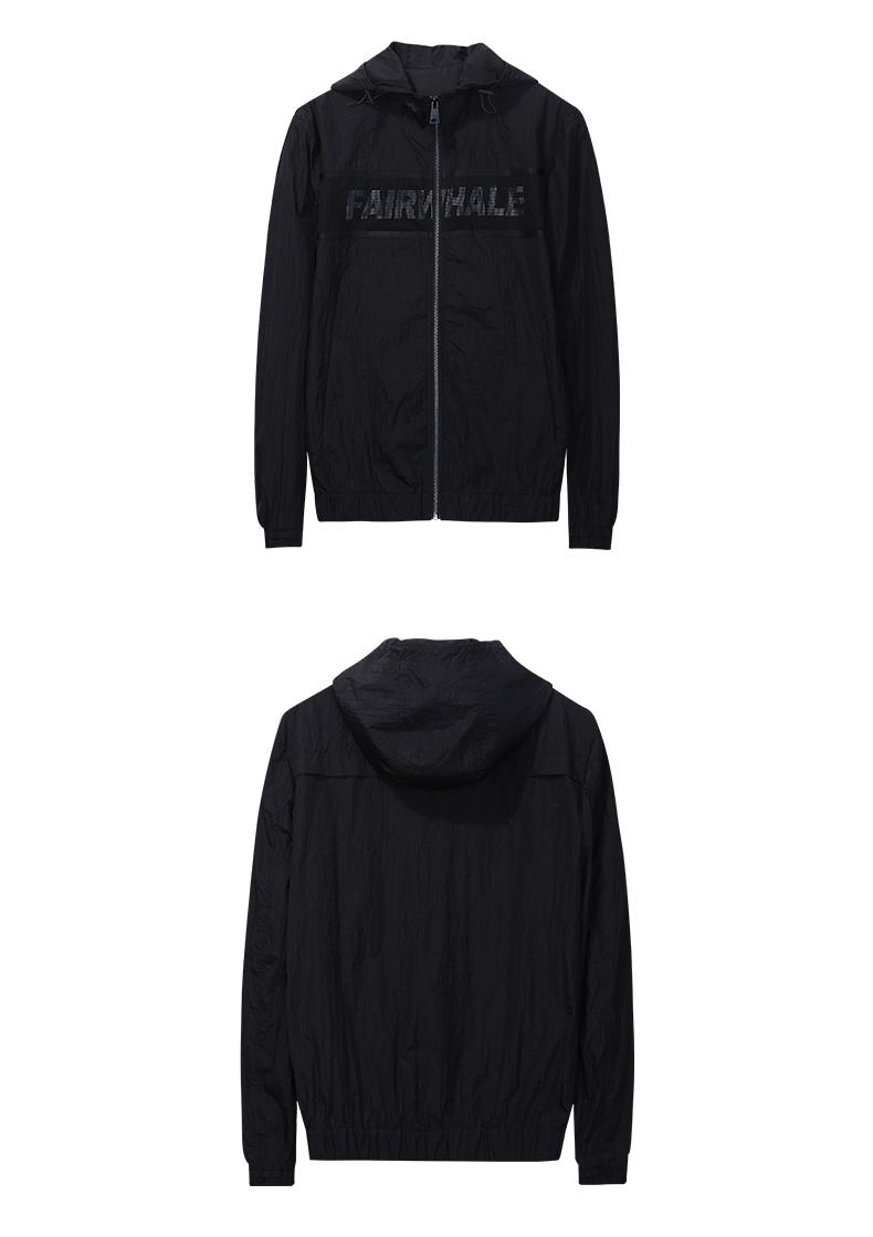 Mark Huafei áo khoác nam 2017 mùa xuân và mùa thu mô hình đen in lưới khâu trùm đầu áo khoác áo giản dị