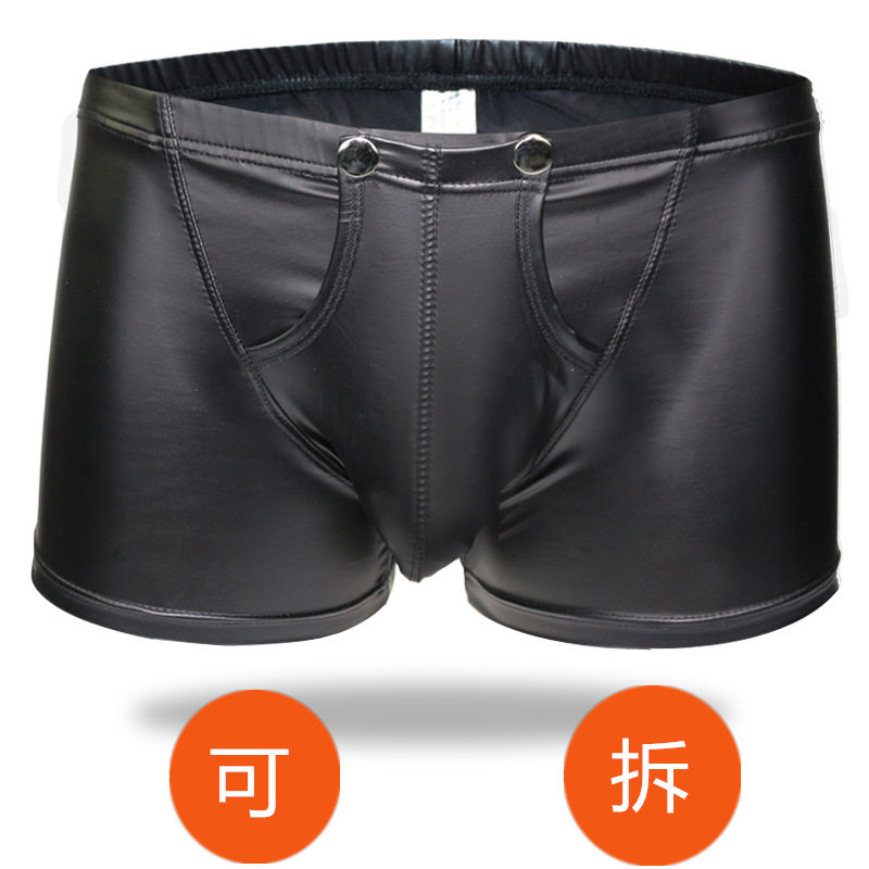New men sexy patent leather boxer briefs boxer shorts shorts youth sexy temptation pants men