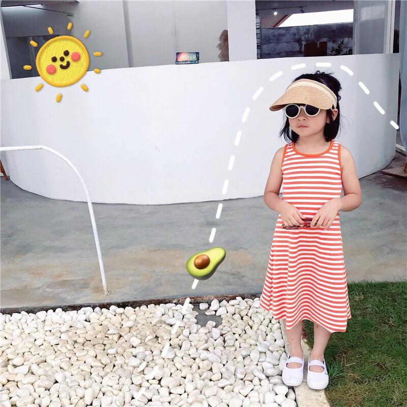 条纹无袖背心儿童20夏新款韩国女童弹力洋气宝宝薄棉长裙连衣裙潮