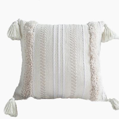 北欧创意家居椅子垫 流苏绣花腰枕 簇绒塔塞尔摩洛哥抱枕素雅靠垫