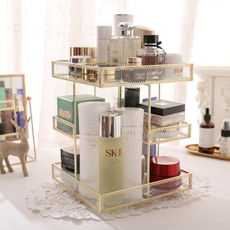 金色玻璃化妆品收纳盒 复古桌面梳妆台护肤口红盒 透明旋转收纳盒