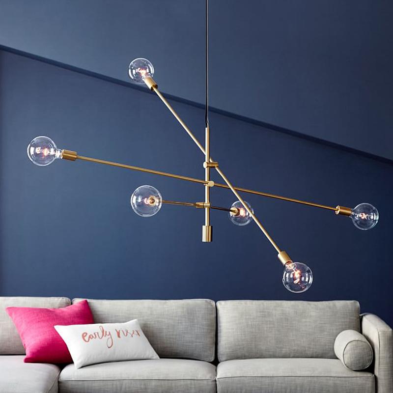 乐光北欧餐厅风卧室客厅线条吧台创意魔豆分子极简吊灯几何工业