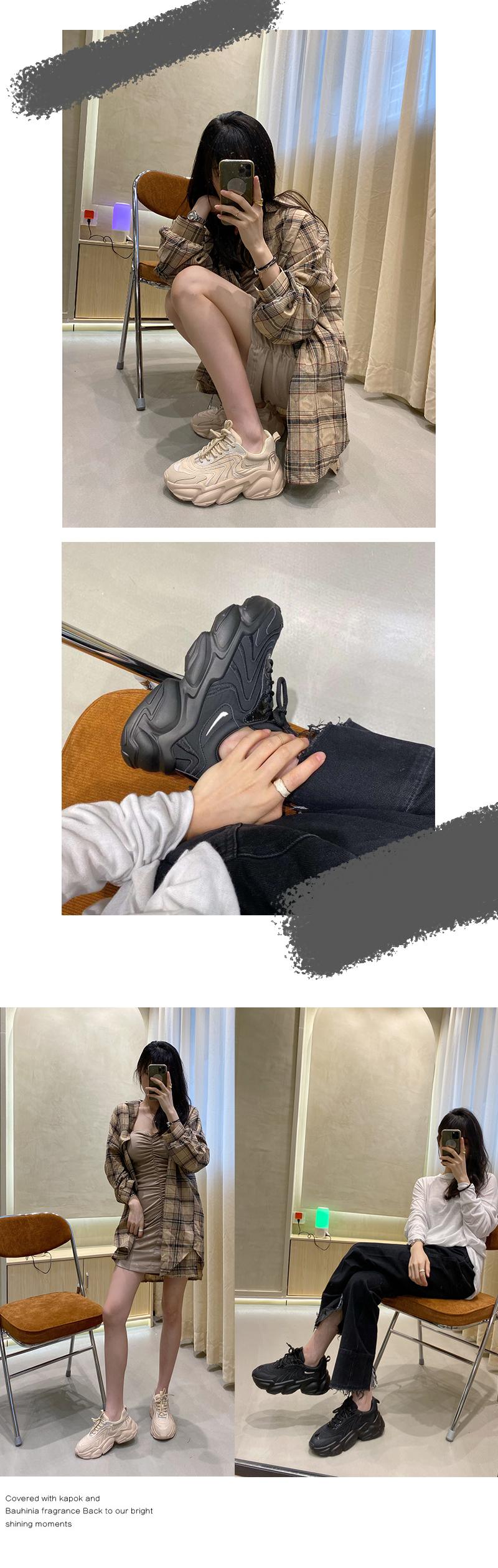 墨染·潮牌超火顯瘦老爹鞋ins潮女2121秋冬新款厚底輕便刺繡網紅運動鞋