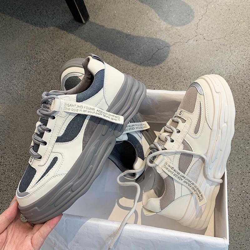 墨染·2121新款香港鞋子女ins板鞋洋氣厚底真皮街拍百搭網紅潮流小白鞋