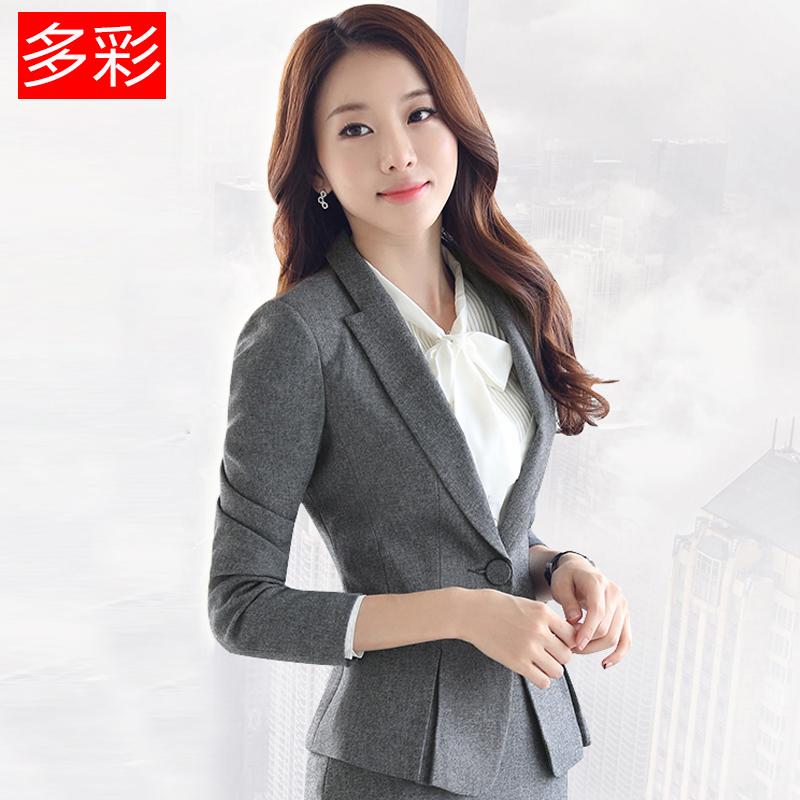 春秋套装收腰荷叶边小西装女外套长袖短款西服上衣修身显瘦职业潮