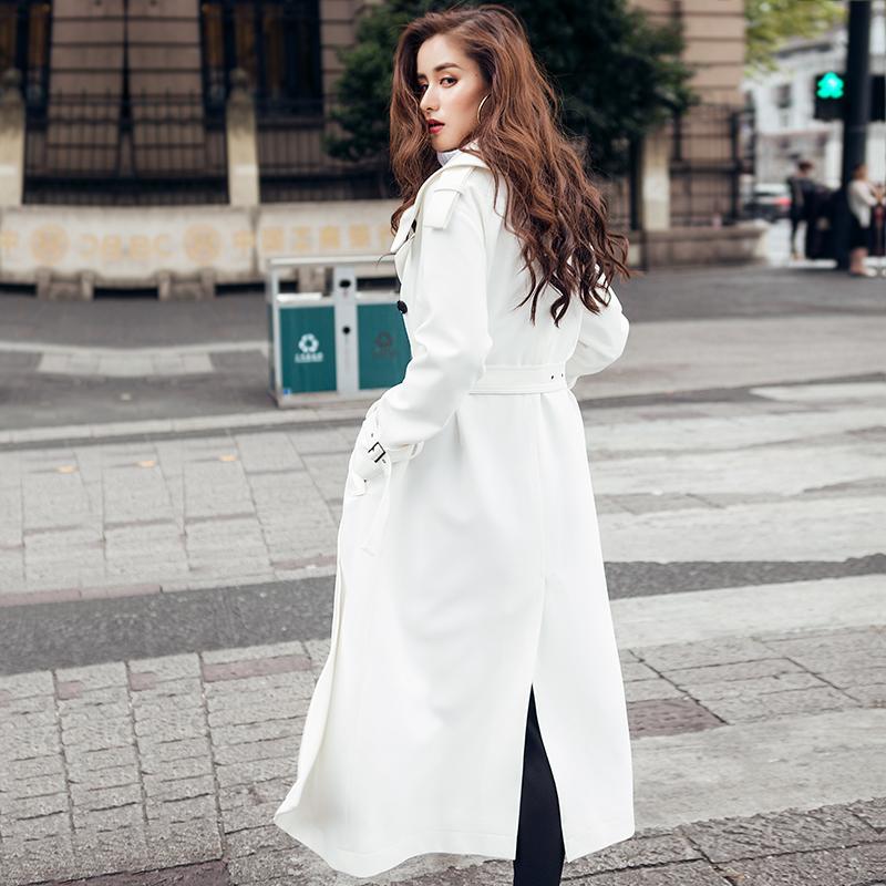 韩版新款春秋装风衣长款风衣外套女系带修身过膝带衬长白色时尚