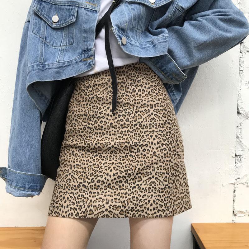 Цветочный кабинет окно P627 винтаж высокая Талия A слово Slim 2018 осень Женская юбка Harajuku леопардовый принт пакет Бедровая юбка