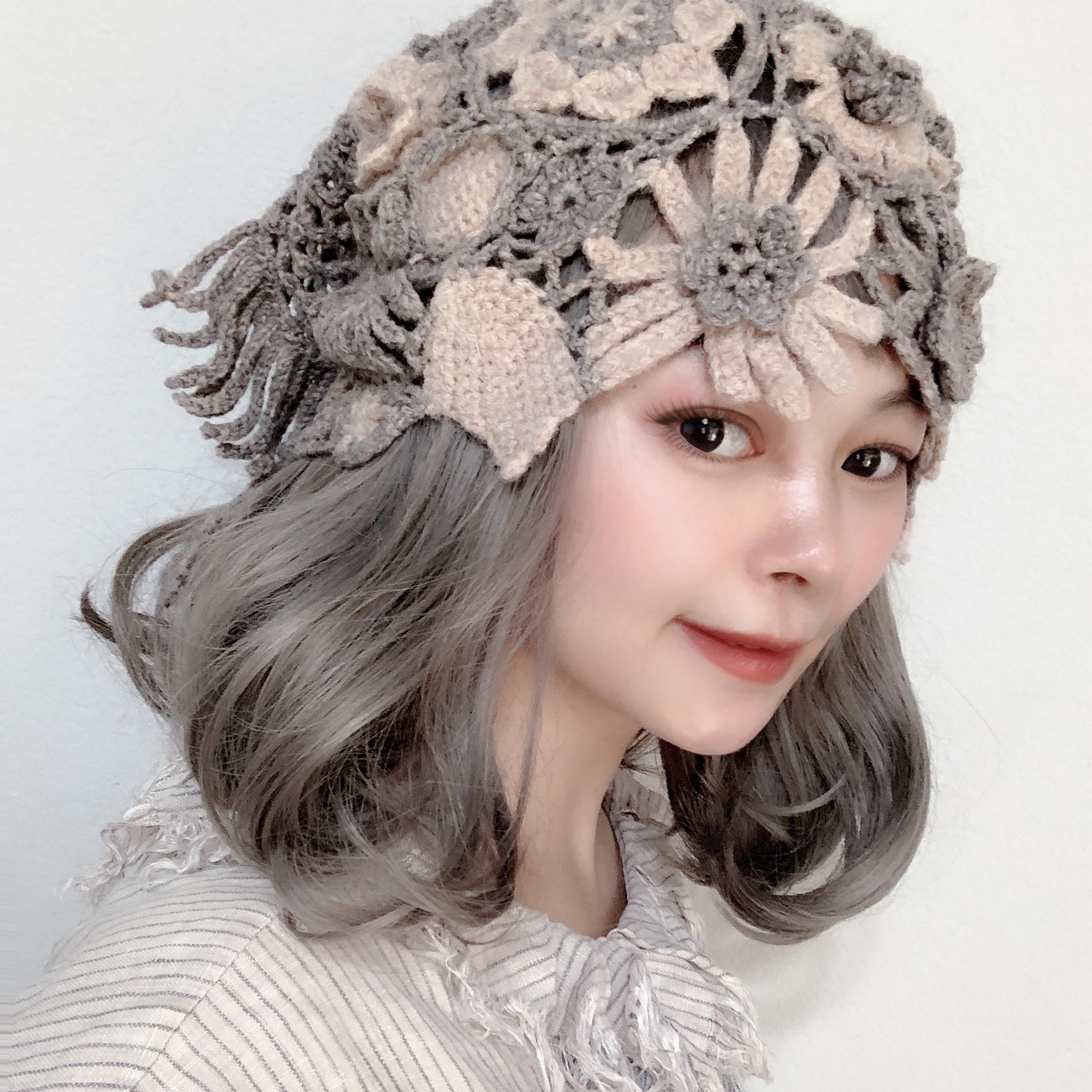 森女系立体风原创纯花朵帽子线拼接围脖两用钩织田园羊毛手工包邮