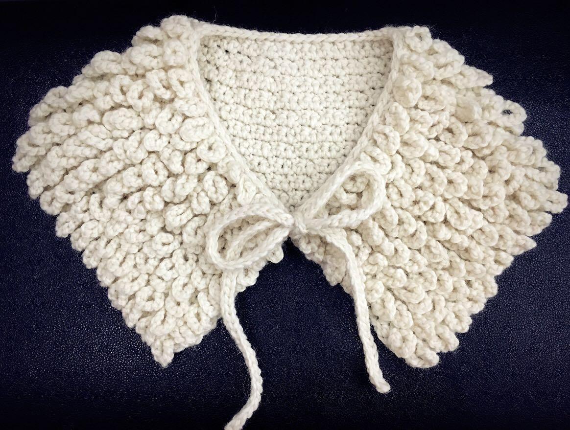 森女系假纯羊毛衣领子外套大衣配饰系带编织围脖小毛线披肩包邮