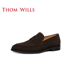 Thomwills British loafer shoes 19 spring leather reverse suede lazy one foot casual leather shoes men's business