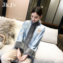 Hanfu winter dress women's winter cheongsam coat Chinese style top improved cotton padded jacket of Tang style women's Retro cotton padded jacket