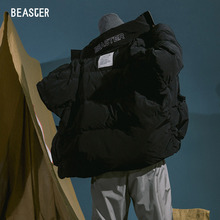 Beaster winter down jacket men's water wash label fabric short Guochao brand is much thicker than hip hop design
