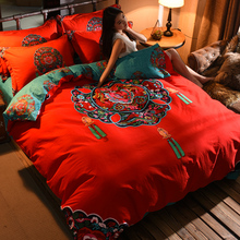 Thickened cotton wool four piece set of red wedding bedding new Chinese style red quilt set of Pure Cotton wedding bedding