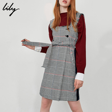 Lily new classic tweed high waist lace up pocket back belt skirt
