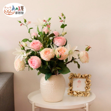 Extraordinary realism! Austin feel moisturizing rose simulation bouquet living room decoration fake flower art