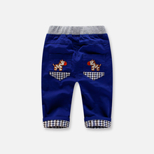 Spring and autumn new style boys and girls cartoon Plaid outside long pants children's Korean Trend casual versatile sports pants