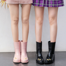 Maiyu sunflower rain boots female adult Korean fashion rain shoes lovely middle water shoes anti slip water boots in summer