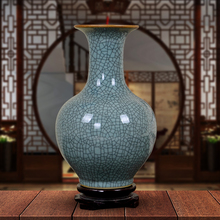 Jingdezhen ceramic ware, antique official kiln, crack, blue glaze vase, flower arrangement, Chinese style home furnishing, living room decoration
