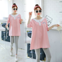 Pregnant women's autumn dress and sanitary wardrobe in long fashion wearing the new style of pregnant women's wear in autumn loose pregnant women's t-shirts