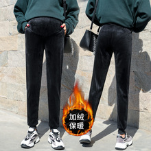 Winter pregnant women's pants wear all kinds of plush outside, autumn and winter casual sports pants, pregnant women's fashion clothes, autumn and winter golden velvet