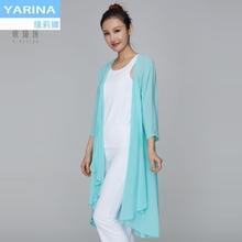 Yarina spring and summer new white Yoga dress shawl women's outdoor Yoga tower top 2018 elegant