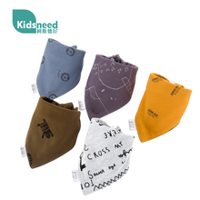 Baby saliva scarf triangle pure cotton baby newborn products baby boys and girls Bib double buttons summer thin