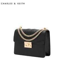 Charles & Keith Dionysus bag ck2-20680639 chain lock single shoulder cross arm black small square bag for women