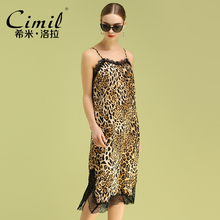 Leopard suspender mid long new Satin print sexy eyelash lace dress