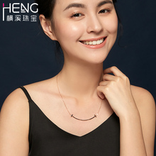 Hengxi 18K gold necklace gold rose gold platinum smile face Necklace color gold clavicle necklace for girlfriend
