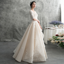 2018 new autumn and winter mid long sleeve Sen series trailing princess dream Hepburn Qi's wedding dress bride dress shows thin girl
