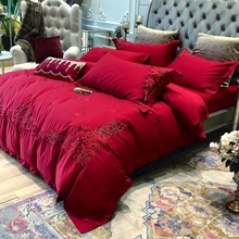 Wedding four piece set of European pure cotton red cotton wedding room ceremony quilt bed embroidery 1.8m bedding
