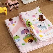 Uchino indoor Animal Park pure cotton face wash towel square towel bath towel baby absorbent cotton towel