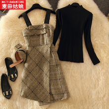 Early autumn net red new knitting loose back belt sweater
