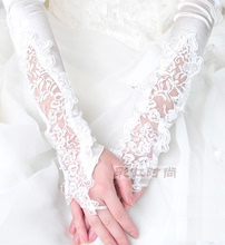 Wedding dress accessories gloves Miss lace hand beading long lace embroidered bridal dress gloves
