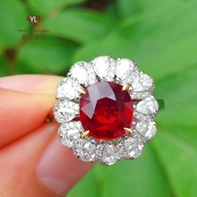 Yinglu 3 carat natural flameless pigeon blood ruby dual purpose heavy gold heavy diamond inlaid with authority certificate