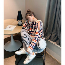 2019 new style vintage sweater women's loose outside wear makaron knitting autumn and winter lazy wind Hoodie