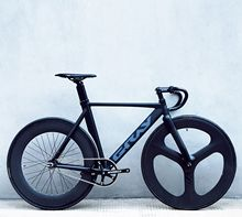 Gray muscle dead flying three blade wheel carbon fiber front fork racing bicycle aluminum alloy frame reverse riding